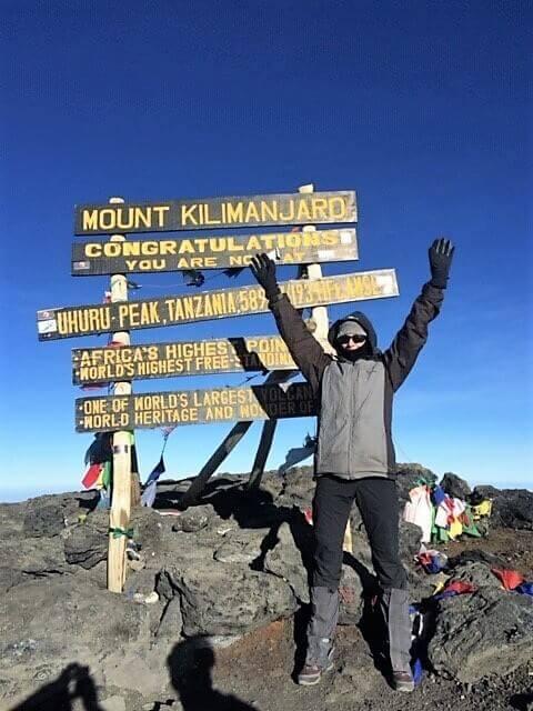 Rees reaching Mount Kilimanjaro