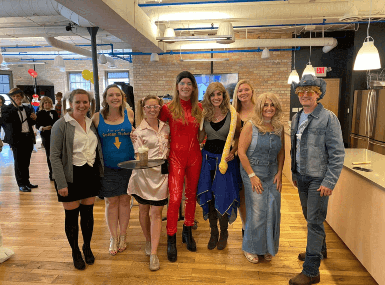 Salo employees dressed as various Britney Spears characters