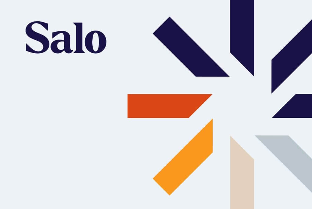 Salo logo and accent element against light blue background