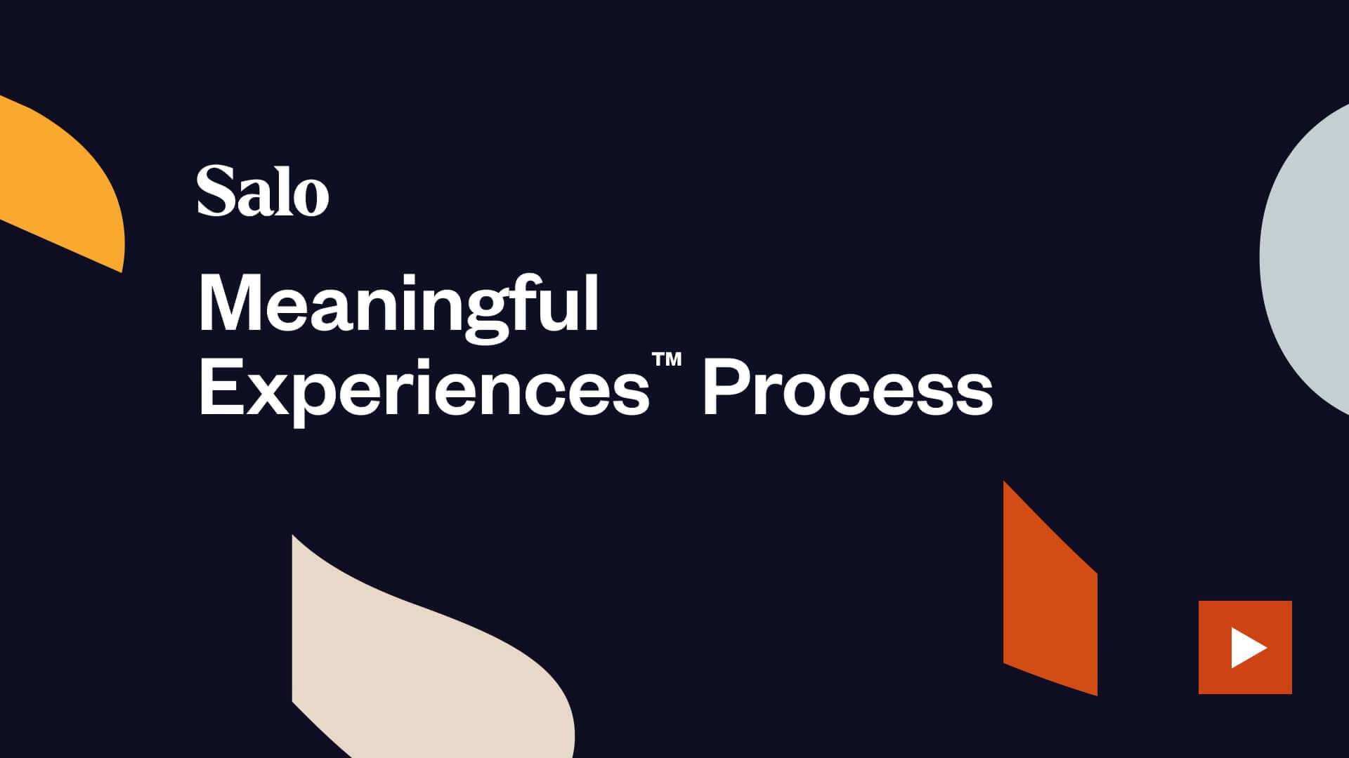 Salo Meaningful Experience videos Process splash screen with orange play button indicating click to play